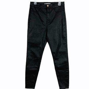 Zara Black Waxed Coated High Rise Skinny Jeans